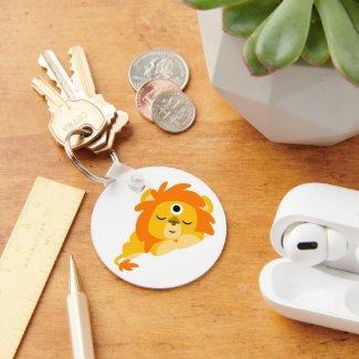 Cute Watchful Cartoon Lion keyring keychain