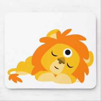 Cute Watchful Cartoon Lion mousepad mousepad