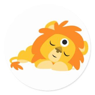 Cute Watchful Cartoon Lion sticker sticker
