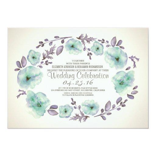 Cute watercolor flowers wreath wedding invites 5