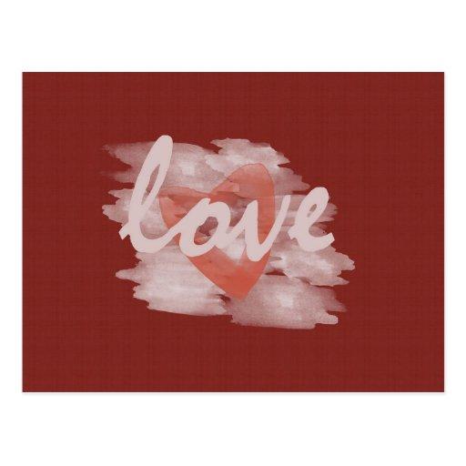 Cute Watercolor Heart Love Red Canvas Postcard | Zazzle