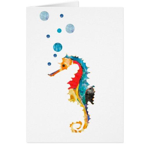 Cute Watercolor SEA HORSE seahorse Ocean Animal Greeting ...