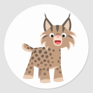 Cutte Happy Cartoon Lynx Sticker sticker