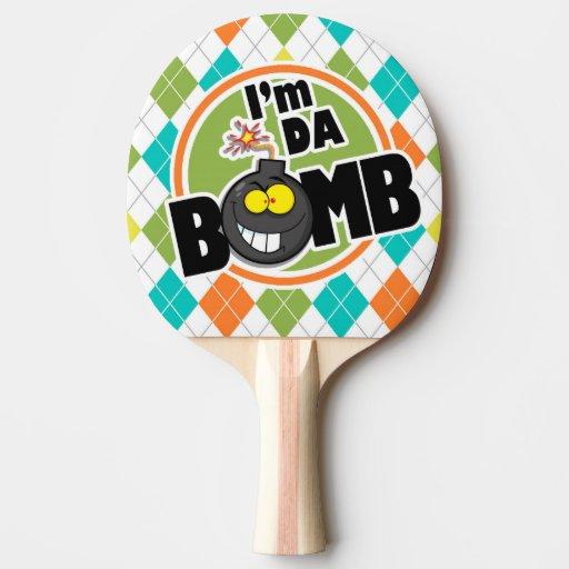 bomb da pong ping paddle argyle colorful pattern paddles