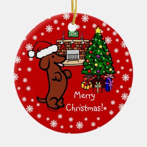 Dachshund Christmas Cartoon Ceramic Ornament | Zazzle