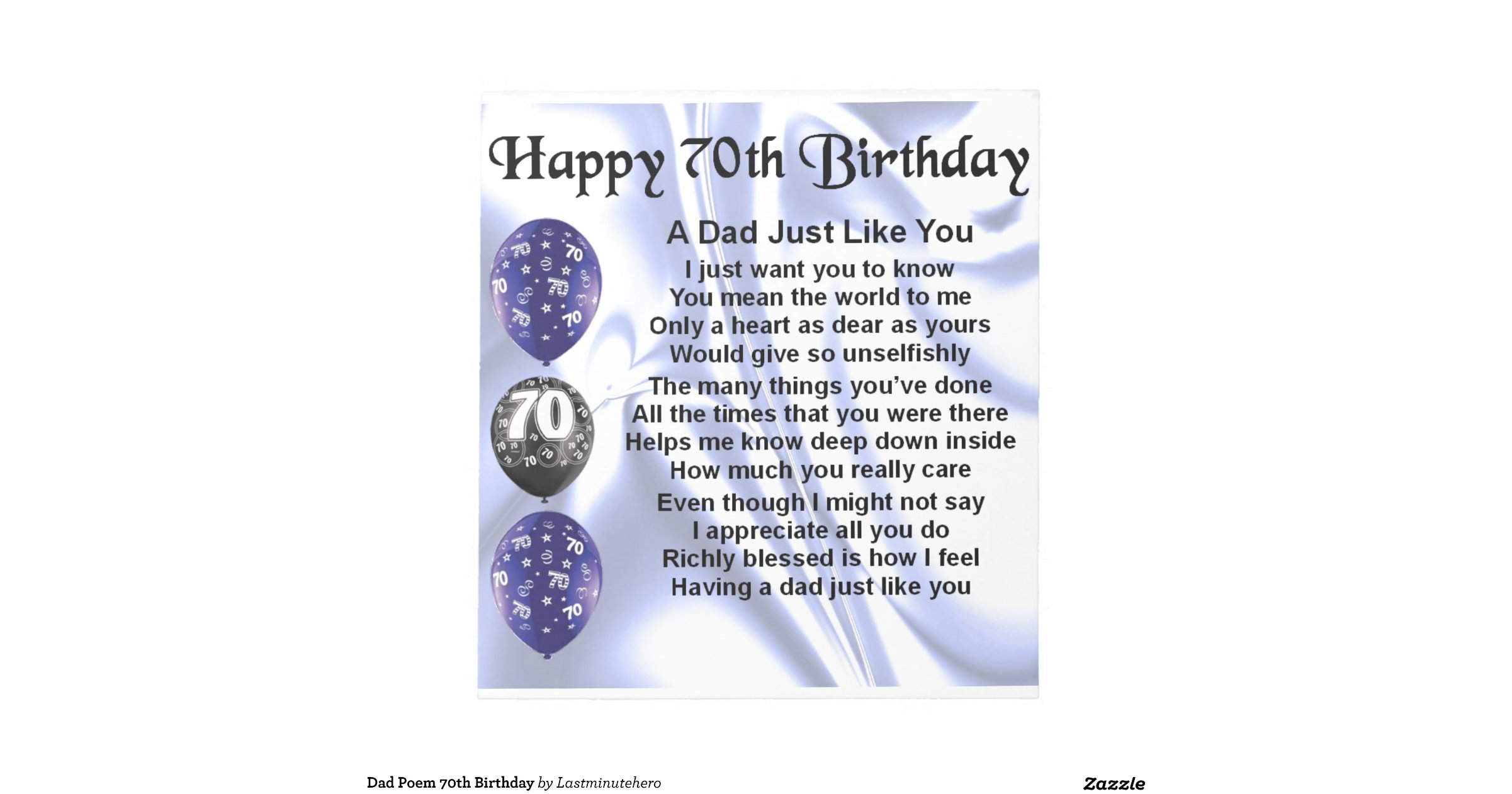 Funny 70th Birthday Poems For Dad