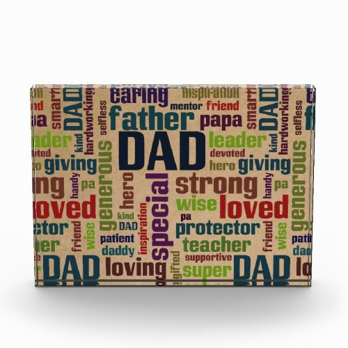 Dad Word Cloud Text Father's Day Typography Acrylic Award