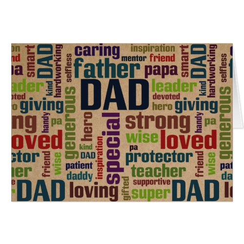 Dad Word Cloud Text Father's Day Typography Greeting Card
