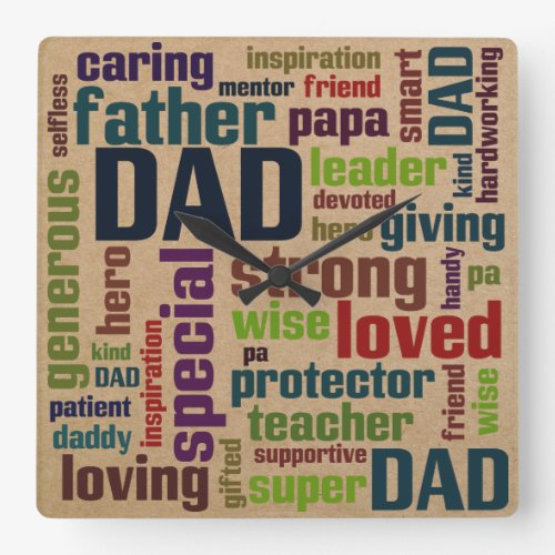 Dad Word Cloud Text Father's Day Typography Square Wall Clock