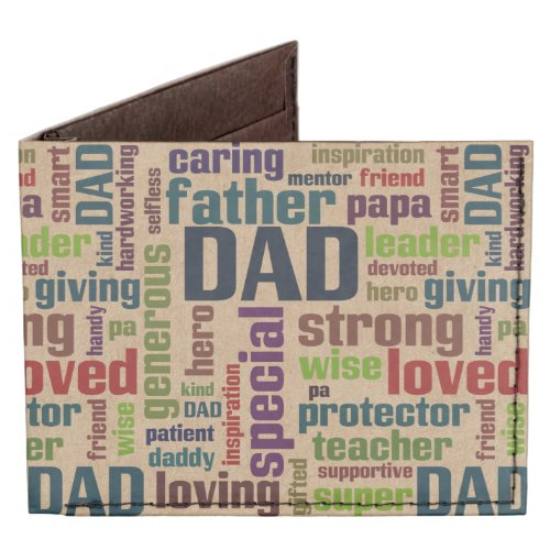 Dad Word Cloud Text Father's Day Typography Tyvek® Billfold Wallet