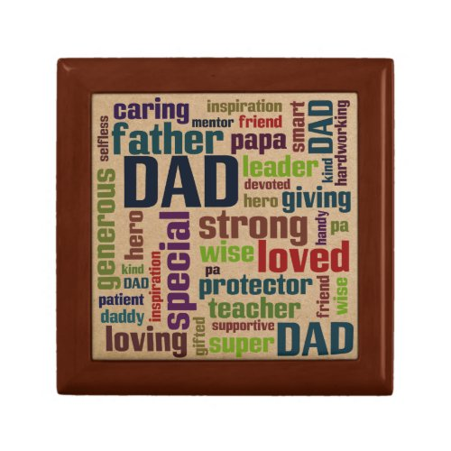 Dad Word Cloud Text Father's Day Typography Trinket Box