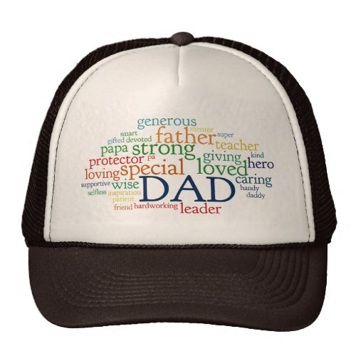 Dad Word Cloud Text Father's Day Typography Trucker Hat