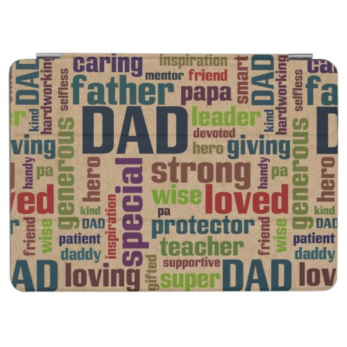 Dad Word Cloud Text Father's Day Typography iPad Air Cover
