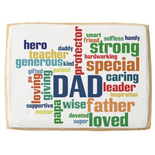 Dad Word Cloud Text Father's Day Typography Jumbo Cookie