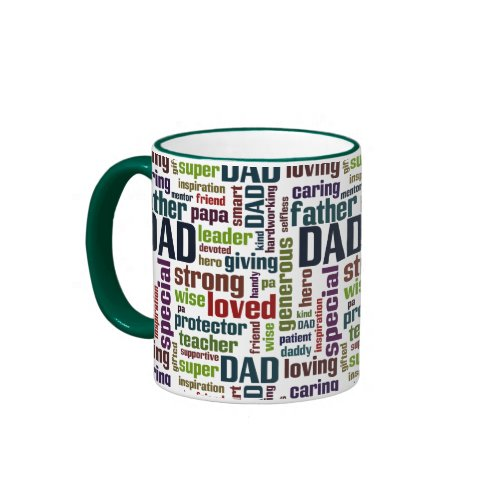 Dad Word Cloud Text Father's Day Typography Ringer Coffee Mug