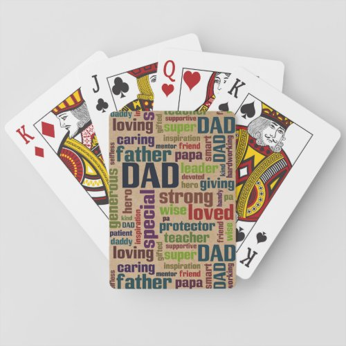 Dad Word Cloud Text Father's Day Typography Poker Cards