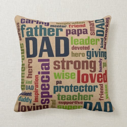 Dad Word Cloud Text Father's Day Typography Pillow