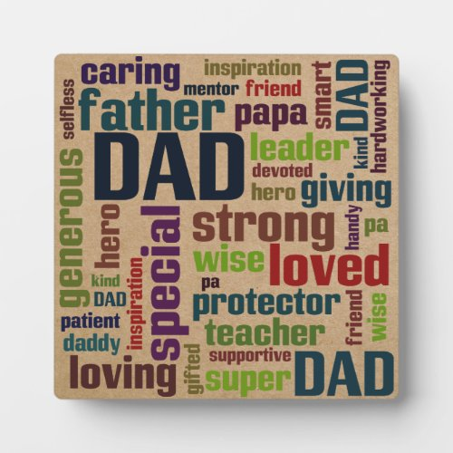 Dad Word Cloud Text Father's Day Typography Photo Plaque