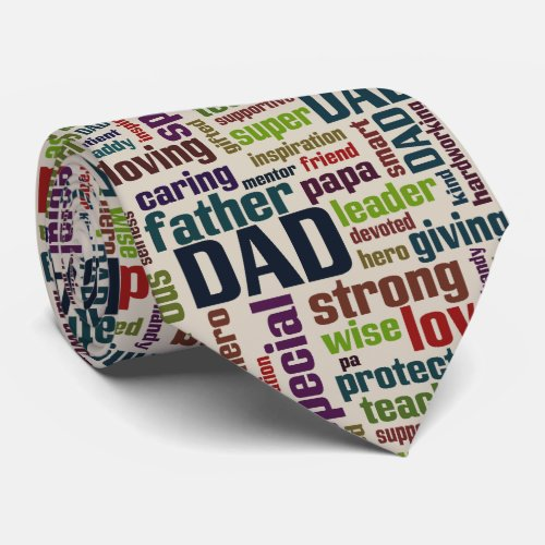Dad Word Cloud Text Father's Day Typography Tie
