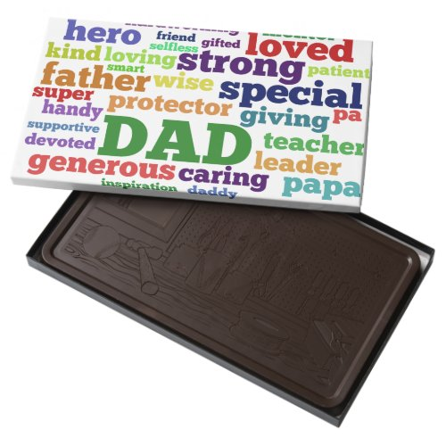 Dad Word Cloud Text Father's Day Typography 2 Pound Dark Chocolate Bar Box