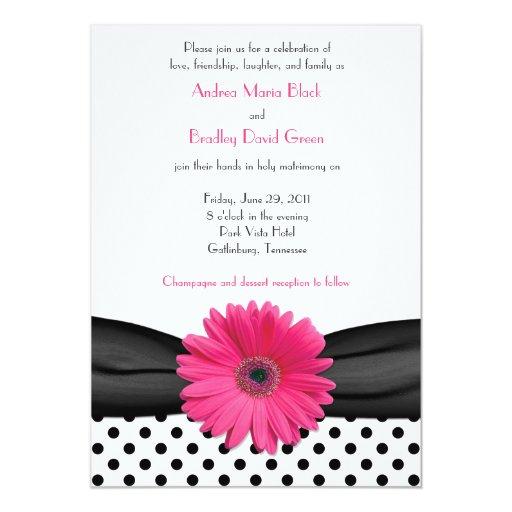 White Daisy Wedding Invitation: Daisy Black White Polka Dot Wedding Invitation