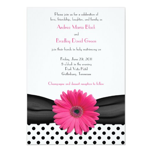 Hot Pink Gerbera Daisy White Wedding Invitation 5 X 7: Daisy Black White Polka Dot Wedding Invitation