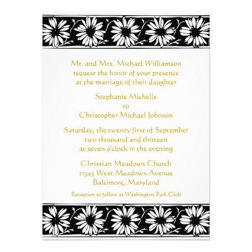 "White Black Gold Daisy Wedding Invitation: Daisy Border Country Modern Gold Black Wedding 5.5"" X 7.5"