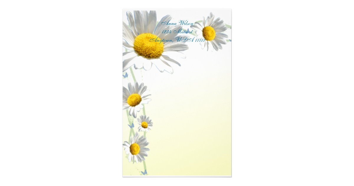 Daisy Border Stationery Zazzle
