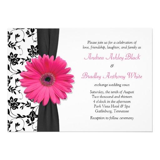 """White Daisy Wedding Invitation: Daisy Pink Black White Floral Wedding Invitation 5"""" X 7"""