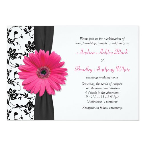 White Black Gold Daisy Wedding Invitation: Daisy Pink Black White Floral Wedding Invitation