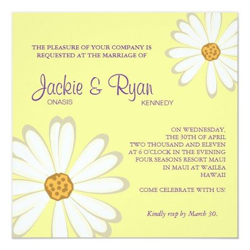 White Daisy Wedding Invitation: Daisy Wedding Invitation Flower White Yellow