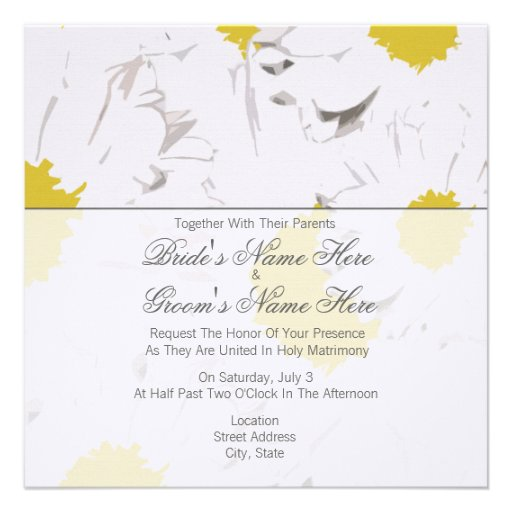 Together With Their Parents Wedding Invitation: Daisy Wedding Invitation - Together With Parents