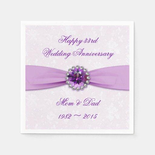 33rd Wedding Anniversary Gift: Damask 33rd Wedding Anniversary Paper Napkins