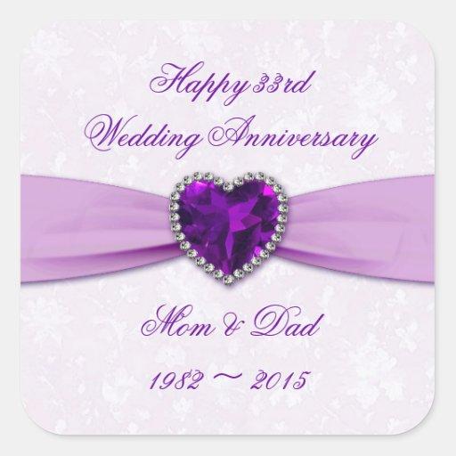 33rd Wedding Anniversary Gift: Damask 33rd Wedding Anniversary Sticker