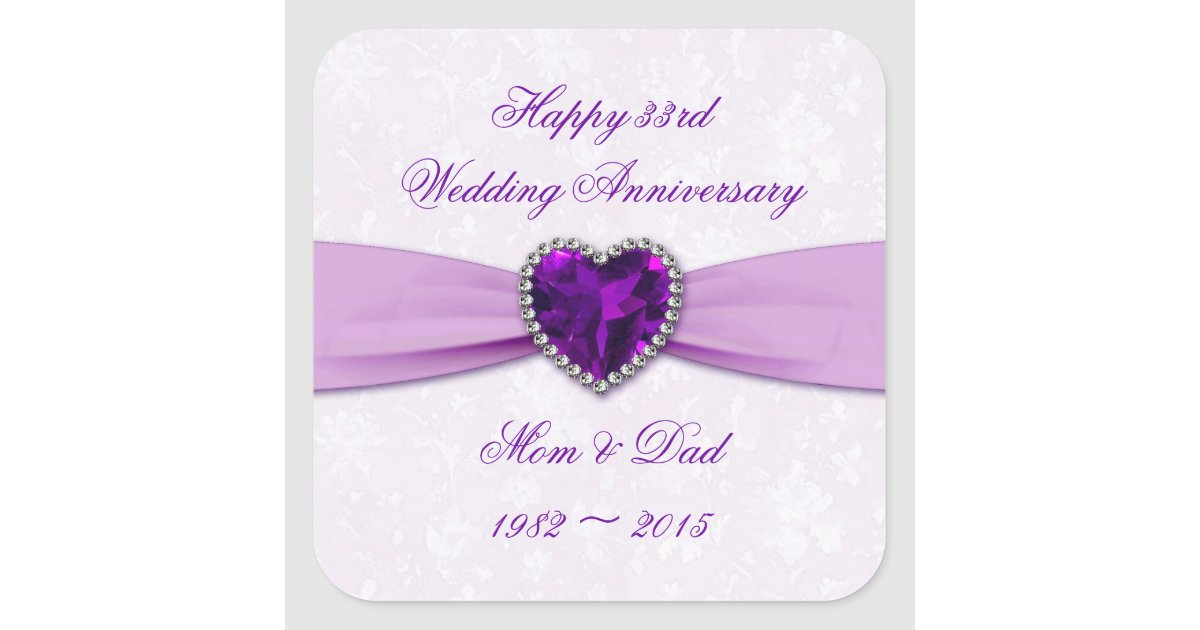 33rd Wedding Anniversary Gifts: Damask 33rd Wedding Anniversary Sticker