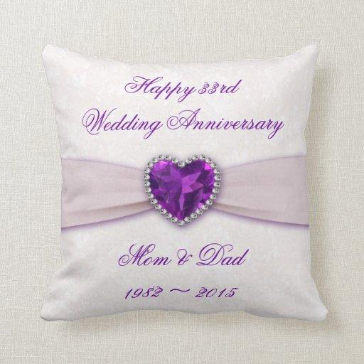 33rd Wedding Anniversary Gift: Damask 33rd Wedding Anniversary Throw Pillow