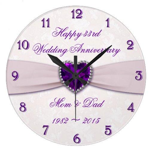 33rd Wedding Anniversary Gift: Damask 33rd Wedding Anniversary Wall Clock