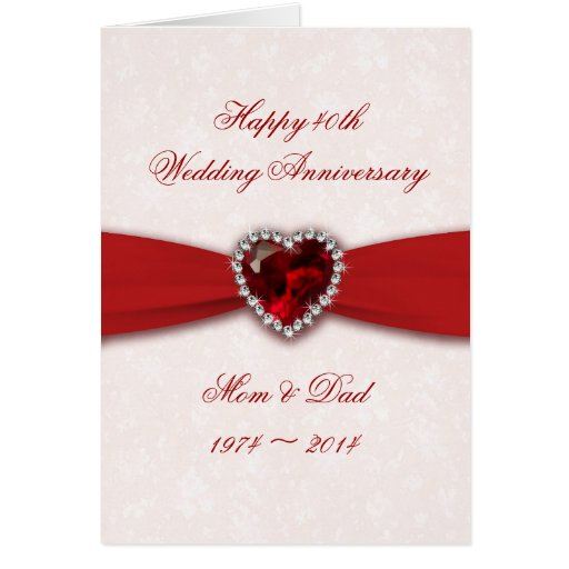 Forty Fifth Wedding Anniversary Gifts: Damask 40th Wedding Anniversary Design Card