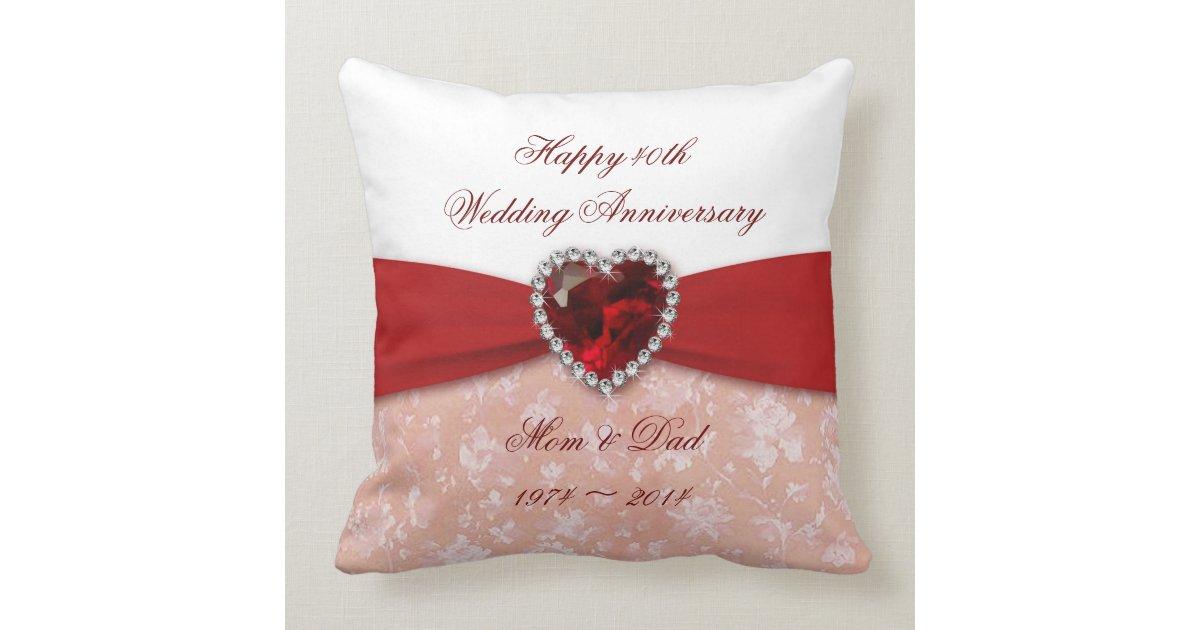 50th Wedding Anniversary Gift Pillows: Damask 40th Wedding Anniversary Design Pillow