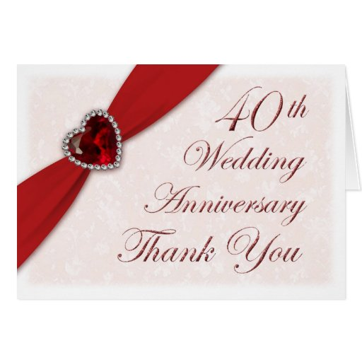 40th Wedding Anniversary Quotes: Damask 40th Wedding Anniversary Thank You Card