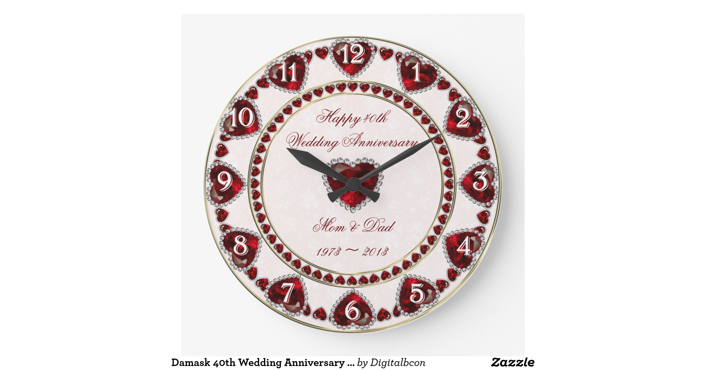 Clock Wedding Gift: Damask_40th_wedding_anniversary_wall_clock
