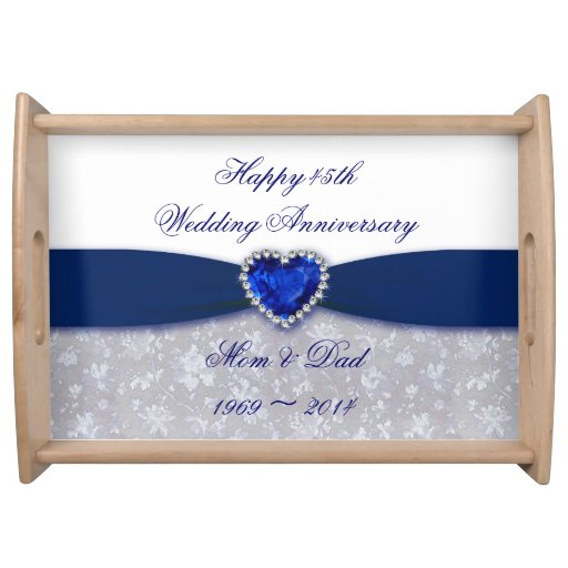 Traditional 45th Wedding Anniversary Gift: Damask 45th Wedding Anniversary Serving Tray