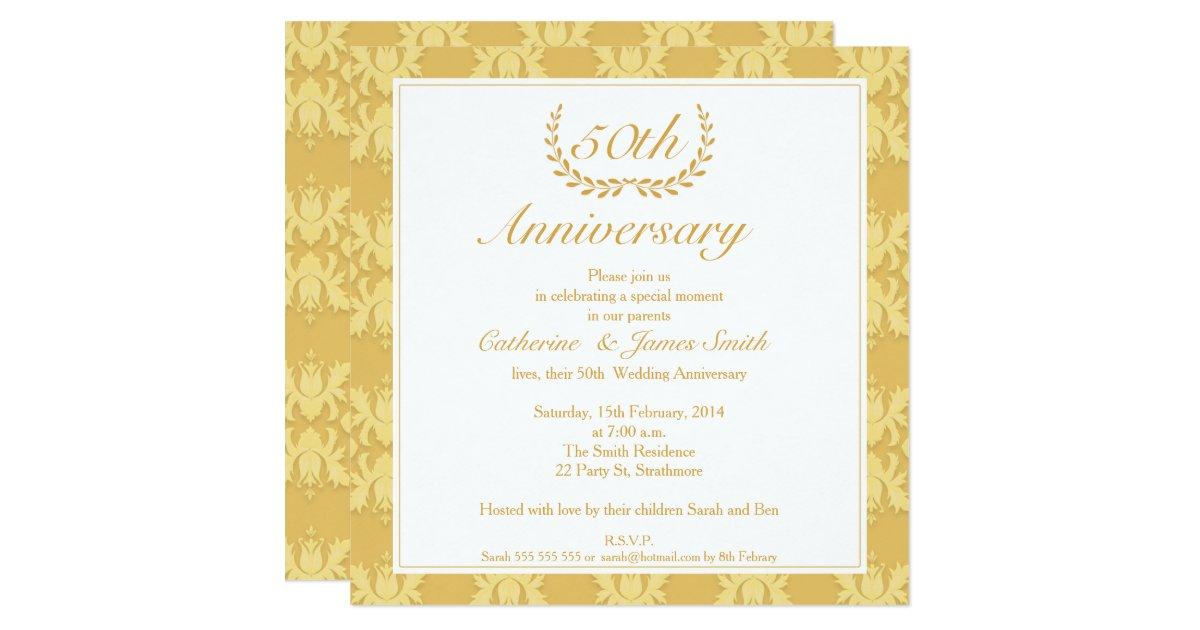 Golden Wedding Anniversary Invitations: Damask 50th Golden Wedding Anniversary Invitation