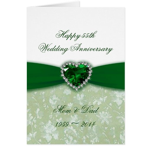 Emerald Wedding Anniversary Gifts: Damask 55th Wedding Anniversary Card