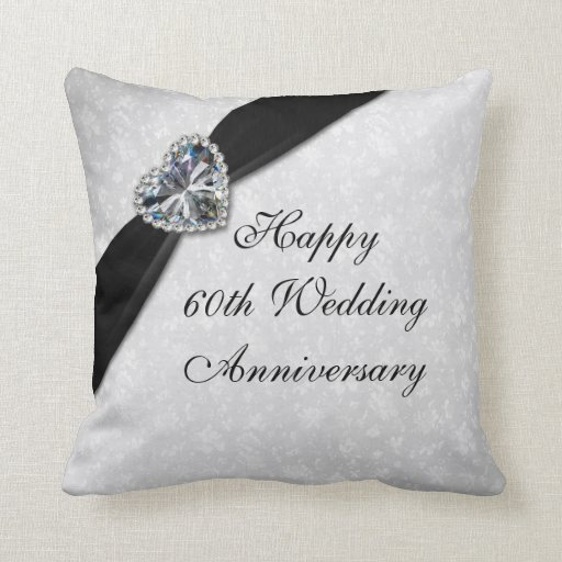 Gifts For 60th Wedding Anniversary: Damask 60th Wedding Anniversary Throw Pillow