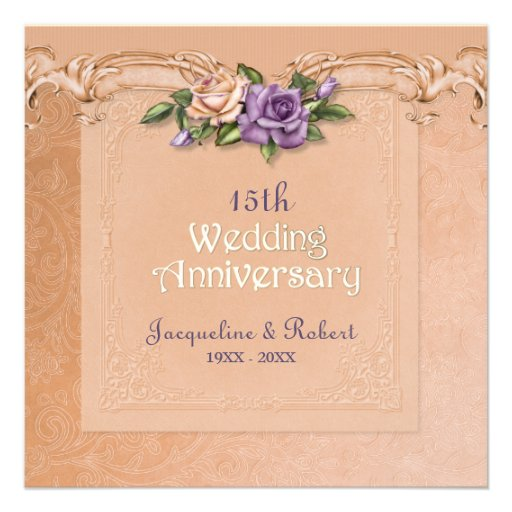 Fifteenth Wedding Anniversary Gifts: Damask And Roses Peach 15th Wedding Anniversary 5.25x5.25