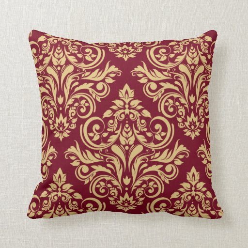 Damask Burgundy Sand Throw Pillow Zazzle
