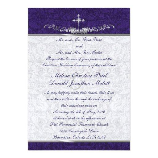 Damask Double Ceremony Wedding Invitation
