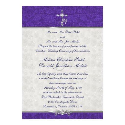 """Damask Double Ceremony Wedding Invitation 5"""" X 7"""