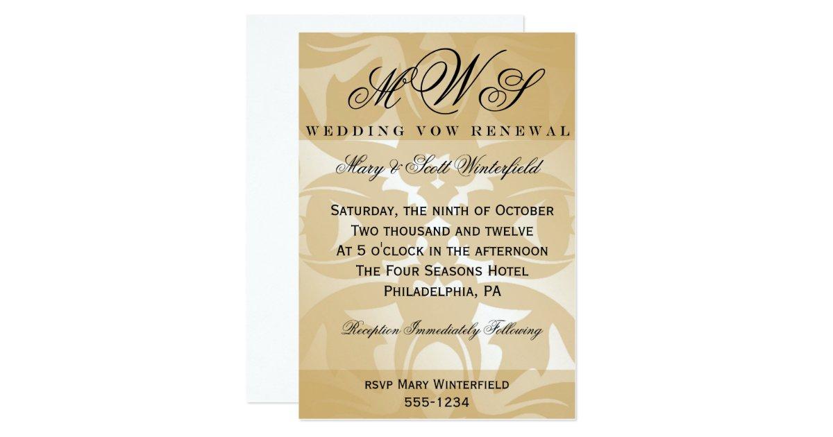 50th Wedding Vow Renewal Invitations: Damask & Monogram Wedding Vow Renewal Invitations
